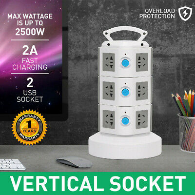 11 Ways Surge Protector Power Board  Outlets Socket 3Level vertical socket  2Usb 3