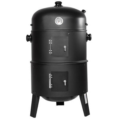 3in1 BBQ GRILL BARBECUE GRILLE WAGON CHARBON DE BOIS FUMOIR SMOKER 3
