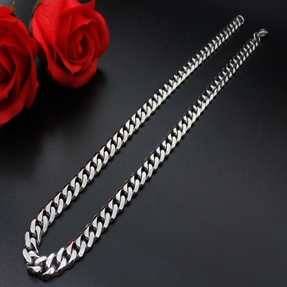 Man Women 316L Stainless Steel 2mm/3mm/4mm/5mm Silver Cuban Curb Chain Necklace 2
