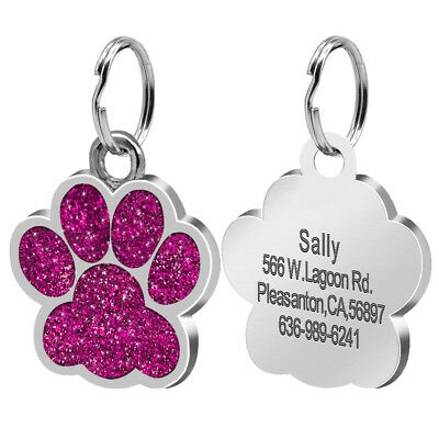 Glitter Paw Print Dog Tag Personalized Engraved Cat Pet ID Name Tag Bone Shape 4