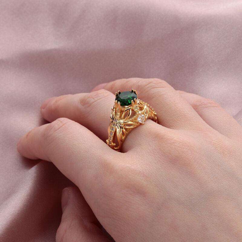 Exquisite Emerald Diamond Ring Anniversary Gemstone Rings Size 6-10
