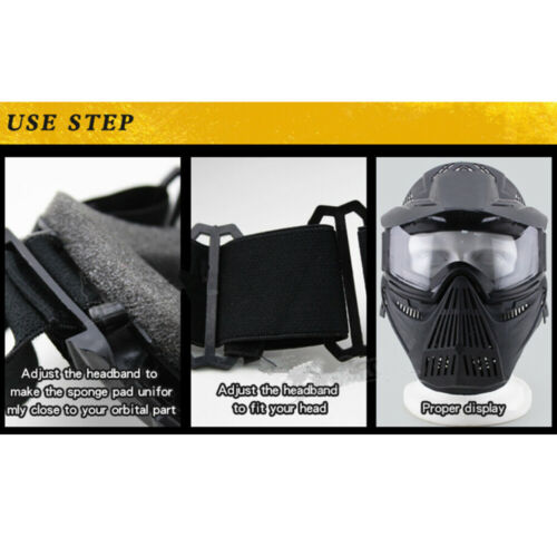 Full Face Protective Safety with Goggles Mask Tactical CS Game Paintball Airsoft 7