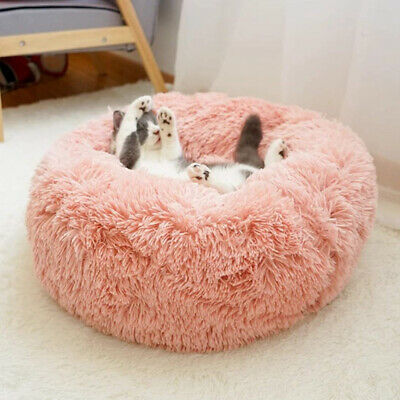Donut Plush Pet Dog Cat Bed Fluffy Soft Warm Calming Bed Sleeping Kennel Nest 10