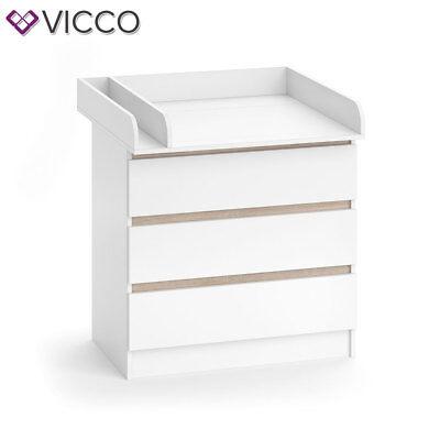 VICCO Wickelkommode Emma - Baby Wickeltisch Kommode mit 3 Schubladen Weiß Sonoma 3