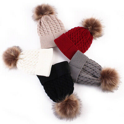 Women Mom Mother Baby Girls Boys Knit Winter Warm Wool Pom Bobble Hat Beanie Cap 4