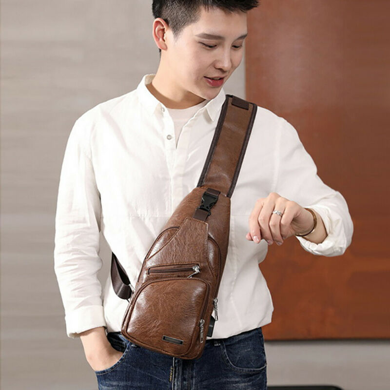Men's Shoulder Bag Sling Chest Pack USB Charging Sports Travel Crossbody Handbag 8