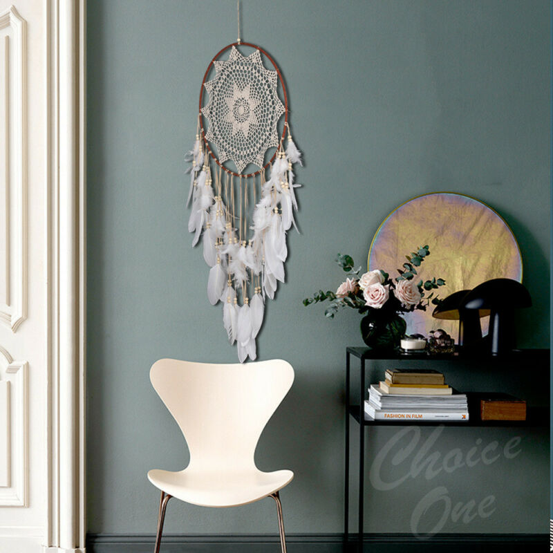 43 inch Large Handmade Dream Catcher With White Feathers Bead Kids Room Decor US 5