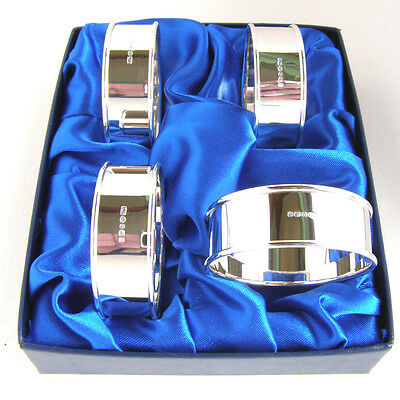 Four Silver Napkin Rings.  A Boxed Set Of 4 Hallmarked Silver Serviette Rings 3
