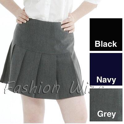 Girls Womens Pleated School Skirt Drop Waist Grey Black Navy Ages 5-16 Size 6-24 2