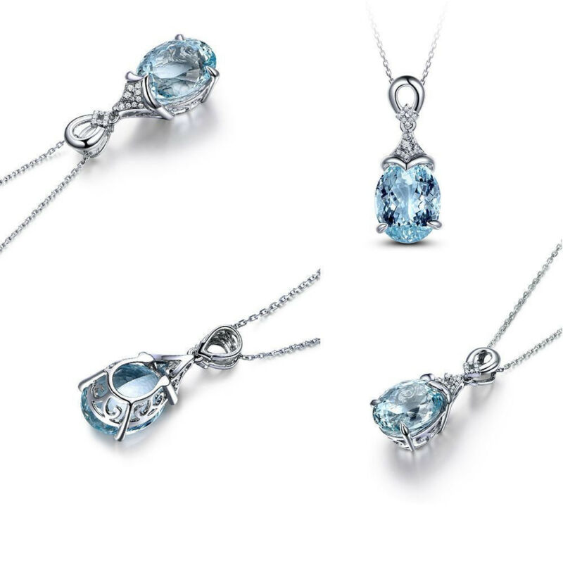Vintage Gemstone  Natural Aquamarine Silver Chain Pendant Necklace Jewelry Gift 12