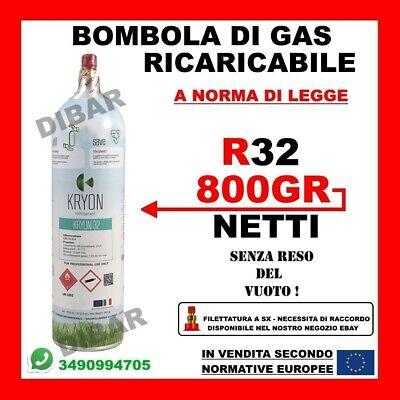 Bombola Di Gas Refrigerante R32 Da 1Kg Net. 800 Gr Ricaricabile Senza Reso Vuoto 2