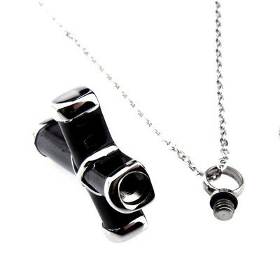 Black & Silver Cremation Urn Ashes Holder Stainless Memorial Men Cross Necklace 7