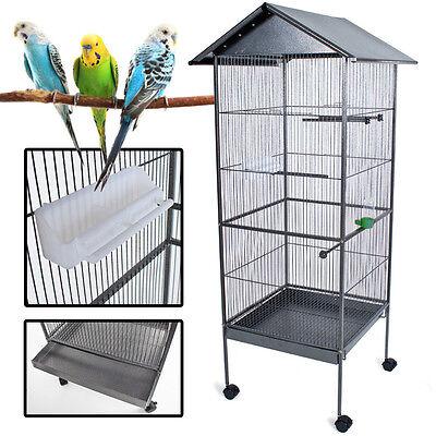 Volière cage à oiseaux canaris perruches perroquets metal argentée 162cm haute 2