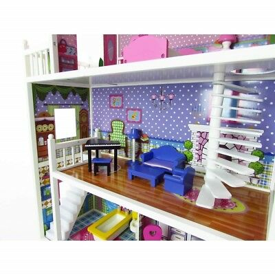3 Storey Large Mansion Kids Girl Wooden Doll House Pink Dollhouse Furniture 18pc 6