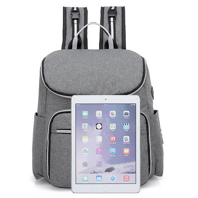 Large Mummy Diaper Bag USB/Earphone Port Baby Nappy Travel Backpack Bottle Hold 4