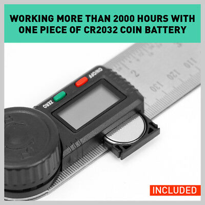 200mm Digital Angle Finder Ruler Protractor Measure Meter Stainless Steel 0-360° 5