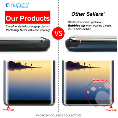 Samsung Galaxy S9 S8 Note 9 8 NUGLAS Full Cover Tempered Glass Screen Protector 10