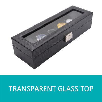 🔥6 Grids Watch Box Carbon Fiber Storage Case Jewelry Display Organizer Gift 7