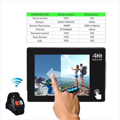 Campark X20 Action Cam 4K TouchScreen Sport Camera WIFI 20MP 170° Remote Control 6