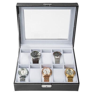 Uhrenbox Uhrenkoffer für 10 Uhren Uhrentruhe Uhrenkasten Uhrenschatulle s. weiß