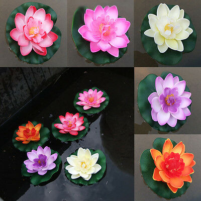 1X 10cm Artificial Lotus Water Lily Floating Flower Pool Pond Tank Plant Decor