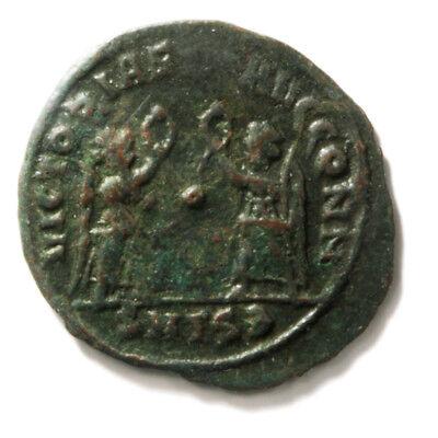 Bronze Coin of Roman Emperor Contans I (337-350 AD). AE4 Follis in Very Fine con