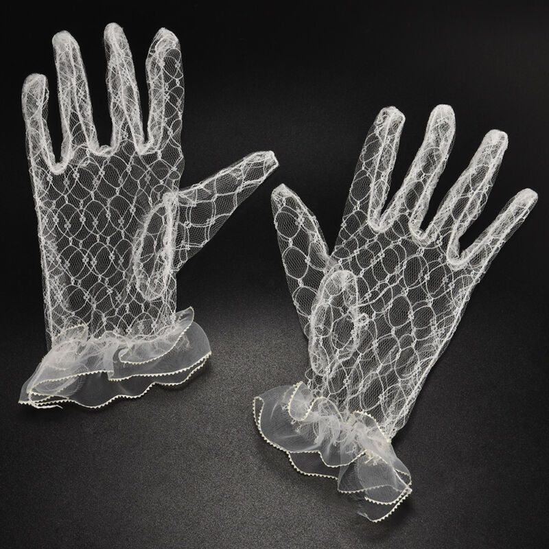 Hot 1Pair Ivory Lace Wedding Gloves Women's Wedding Bridal Party Gloves JT 7