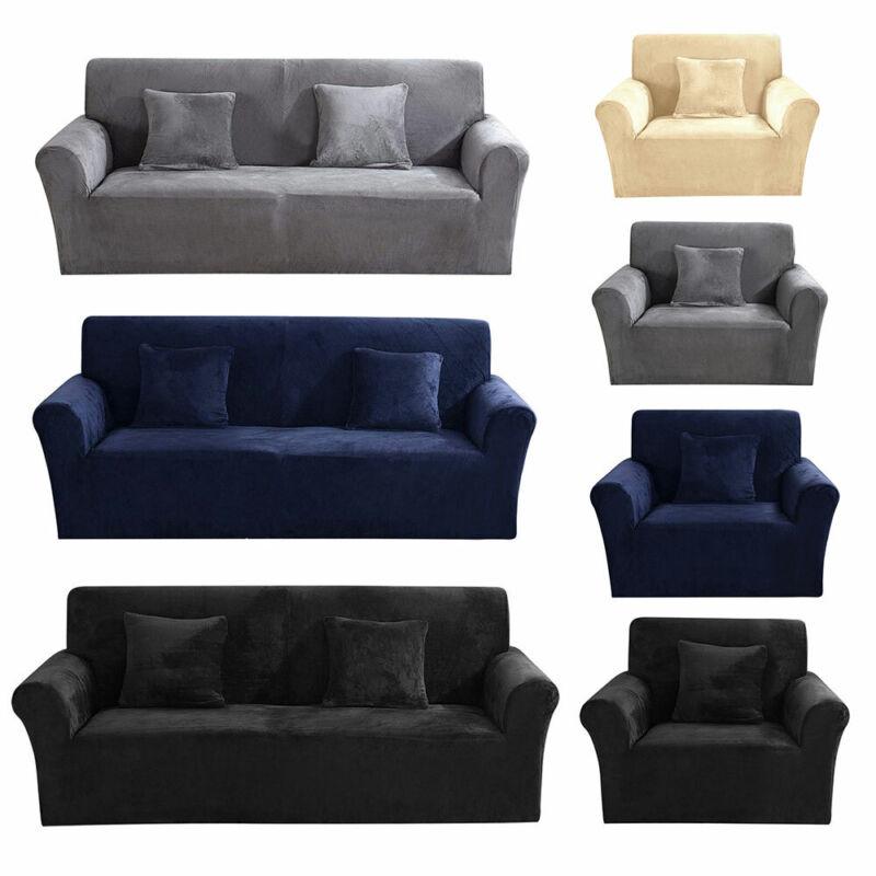 Couverture de canapé Sofa Housse Protector doux Velours Peluche 1-3 siège 12