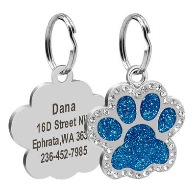 Personalized Dog Tags Engraved Puppy Pet ID Name Collar Tag Bling Paw Glitter 5