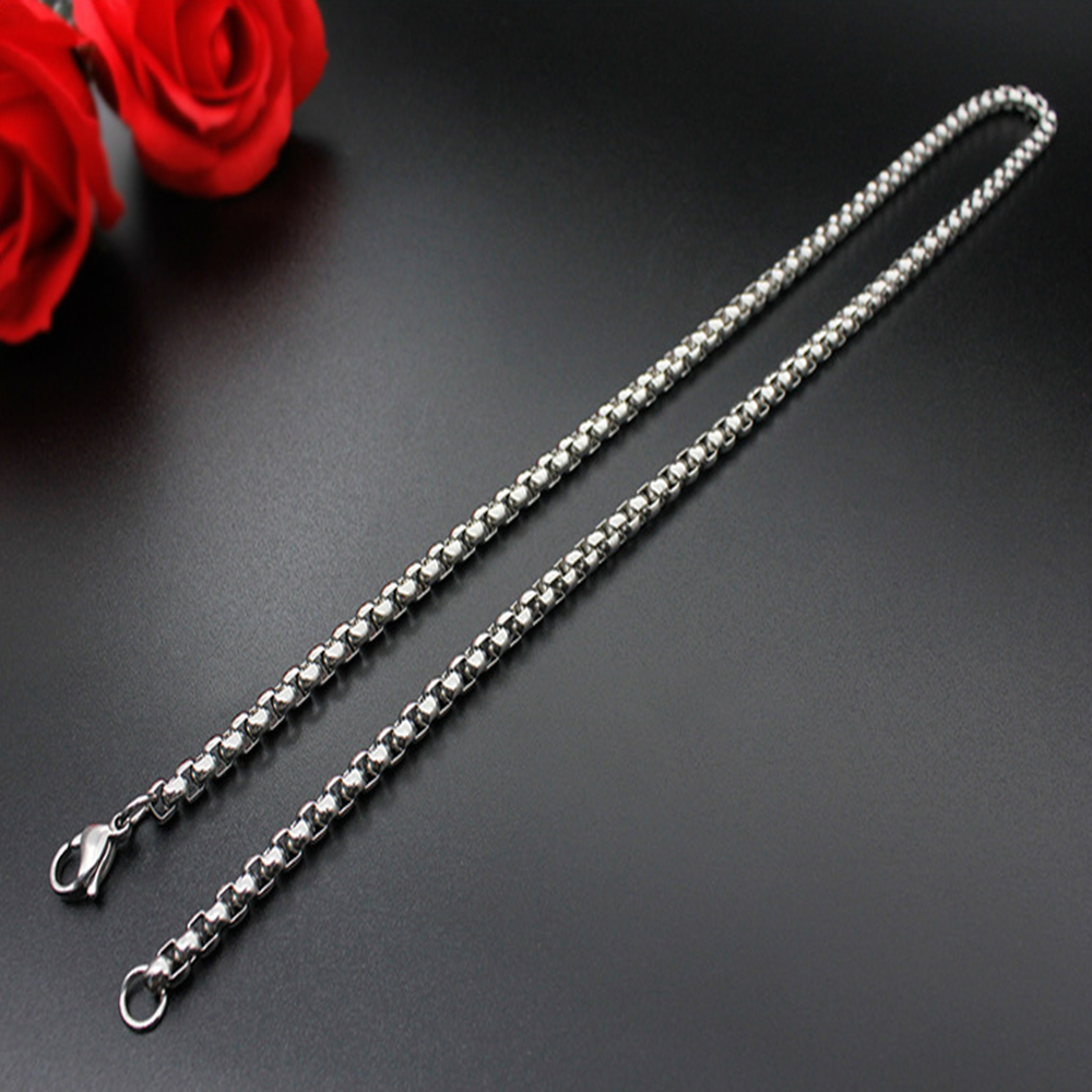 Man Women 316L Stainless Steel 2mm/3mm/4mm/5mm Silver Round Box Chain Necklace 4