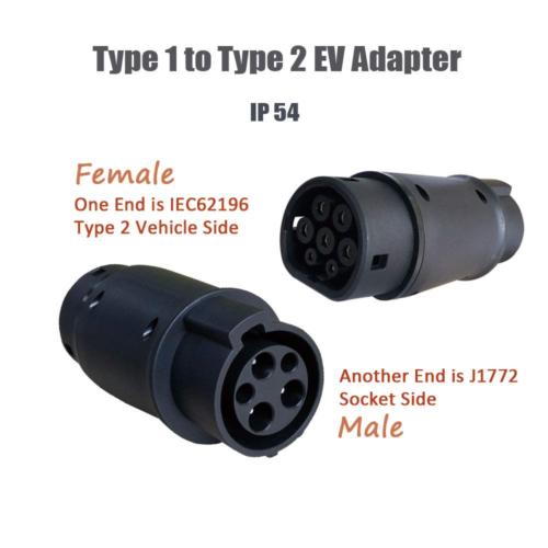 KHONS Type 1 to Type 2 EV Adapter 16 Amp 32 Amp Electric Car Charger Converter 8
