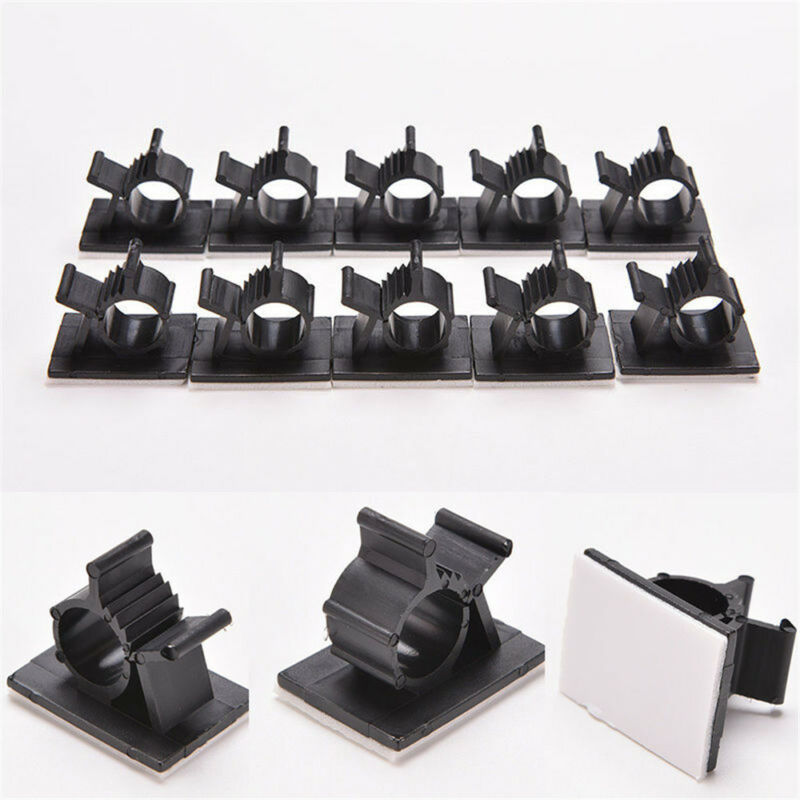 10x Adhesive Cord Cable Clips Management Black Wire Holder Organizer Clamp NEW 2