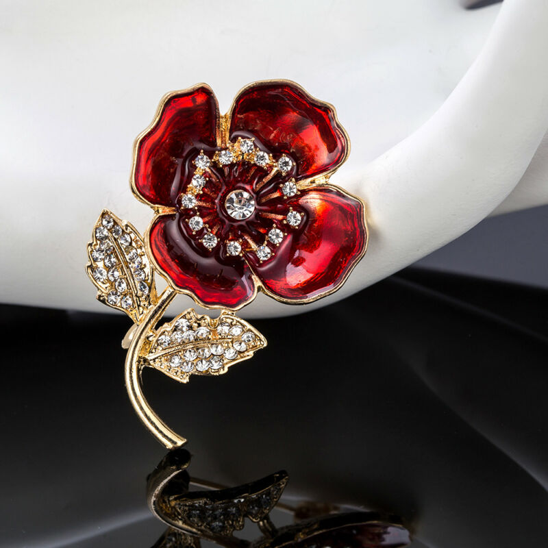 9fdbb8fcf61 Brooches & Pins 2018 Red Poppy Badge Enamel Broach Crystal Brooches Badges Brooch  Flower Pins UK Jewellery ...
