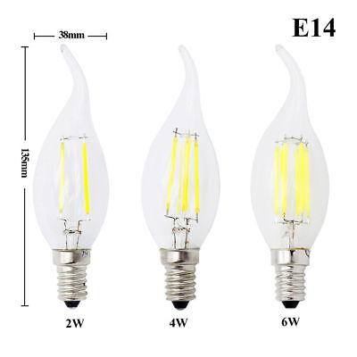 E14 2W 4W 6W Dimmable LED Ampoules à filament de bougie Lampe Edison SES FR SLQL