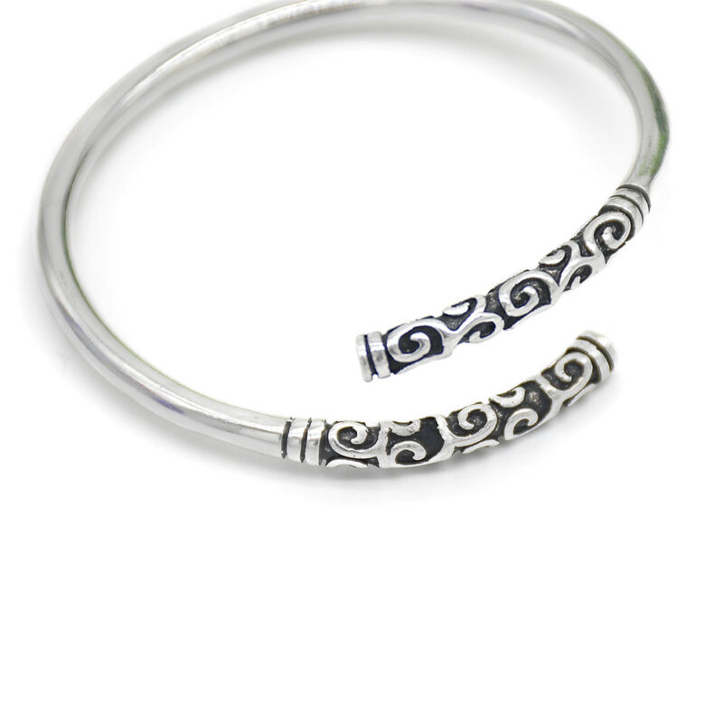 Silver Vintage Viking Open The Cuff Bracelet Bangle Indian Jewelry For Men Gift 3
