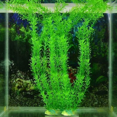 "13"" Stunning Green Artificial Plastic Grass Water Plant Fish Tank Aquarium Decor 3"