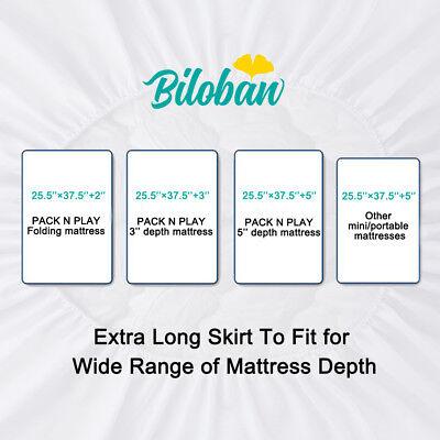 "Waterproof Crib Mattress Pad Cover Fits Pack N Play or Mini Crib 39"" x 27"" White 6"