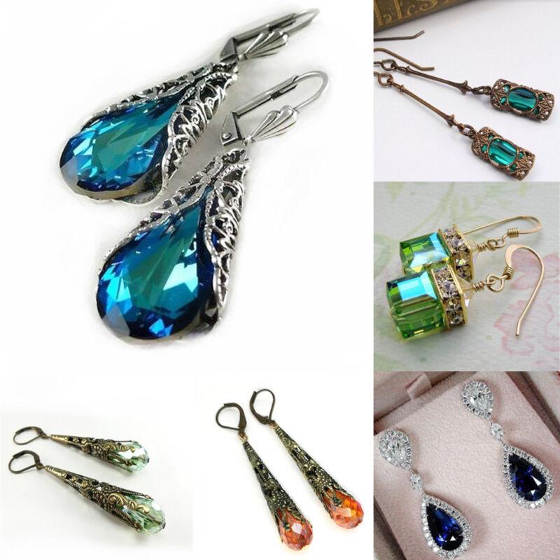 1 paire  Peridot Naturel Saphir Bleu Dangle Boucles D'oreilles Bijoux Vintage 3