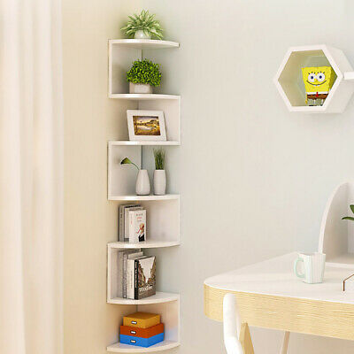 2/3/5 Tier Floating Wall Shelves Corner Shelf Storage Display Bookcase Bedroom 8