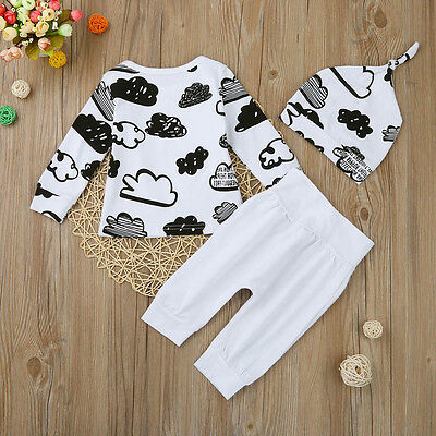 Newborn Baby Girl Boy T-shirt Tops Pants Trousers Hat 3PC Outfit Clothes Hoc 5