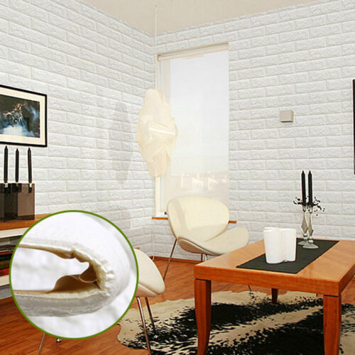 2 Of 7 60*60cm White 3D Brick Wall Sticker Self Adhesive Panel Decal PE  Wallpaper