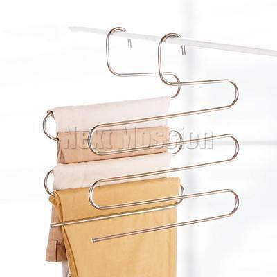 1-10pcs Pants Hangers Trousers S Type Layer Holder Scarf Tie Towel Rack Multi AU 5