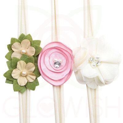Handmade Newborn Baby Girls Flower Headband Infant Toddler Knot Hair Band Sets 4