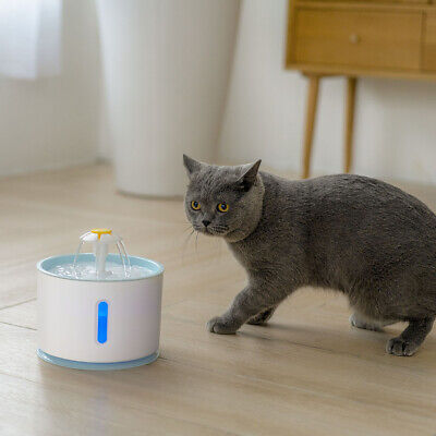 LED USB Automatic Electric Pet Water Fountain Cat/Dog Drinking Dispenser 2.4L 4