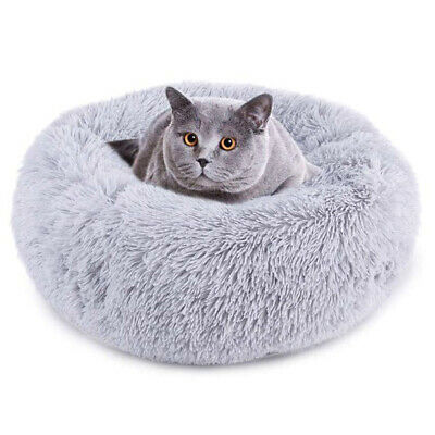 Donut Plush Pet Dog Cat Bed Fluffy Soft Warm Calming Bed Sleeping Kennel Nest 9