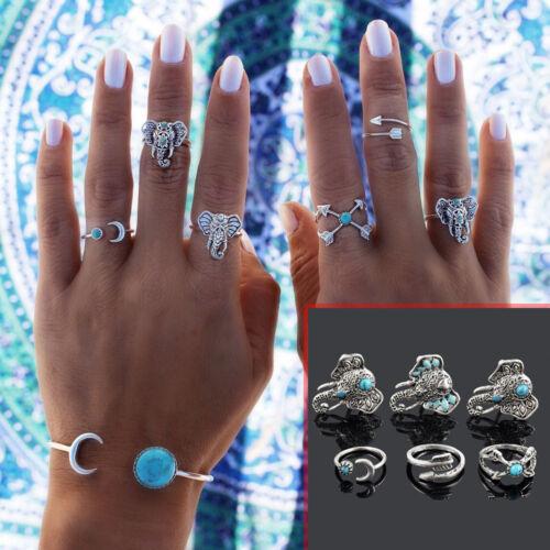 New Bohemian Vintage Women Silver Elephant Turquoise Finger Rings Punk Ring Gift 6