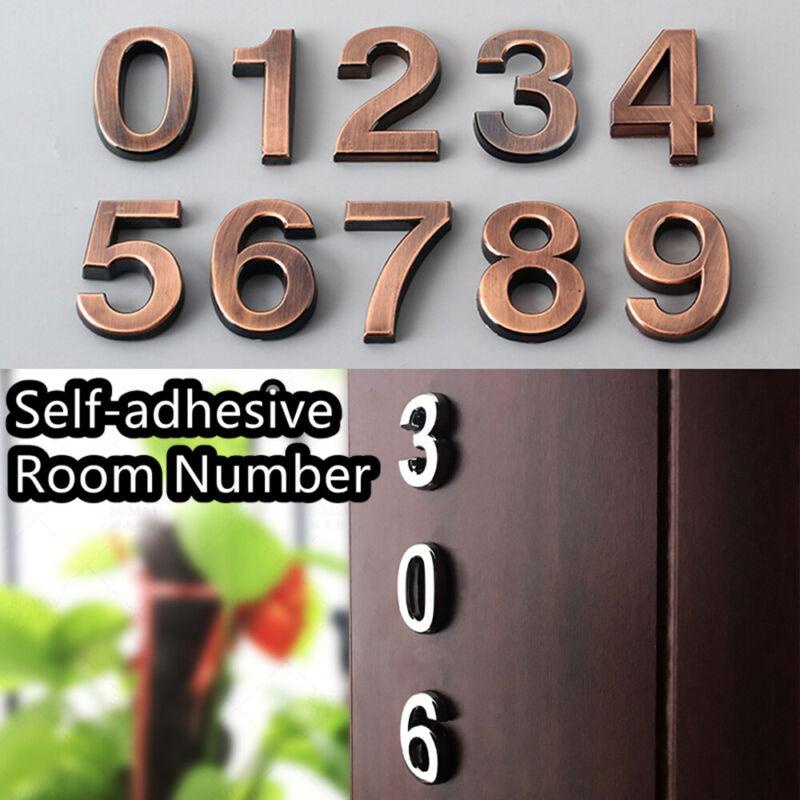 0-9 Bronze Self-adhesive ABS Plastic Door Numbers House Address Number Stickers 2