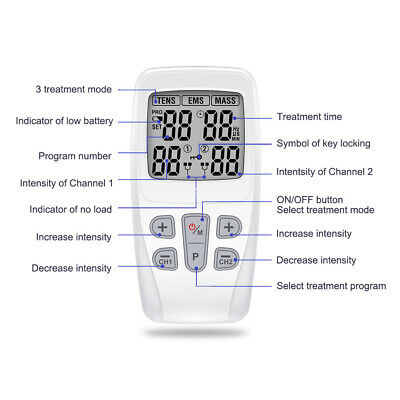 Dual Ch TENS Machine EMS 3 in 1 Combo Unit Pain Relief Massager w/ Extra Pads 4