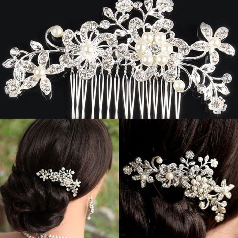 Elegant Rhinestone Hair Comb Hairpin Pearl Wedding Bridal Hair Accessory Women