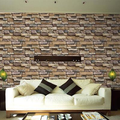 3d Papier Peint Brique Pierre Rustique Effet Autocollant Mural Décor